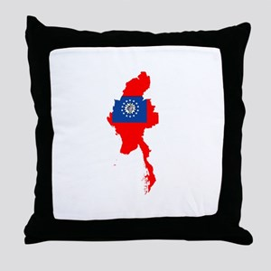 myanmar Flag Map Throw Pillow