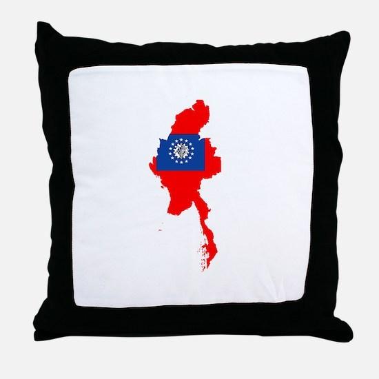 myanmar Flag Map Throw Pillow
