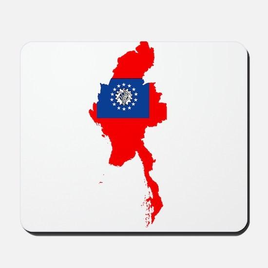 myanmar Flag Map Mousepad