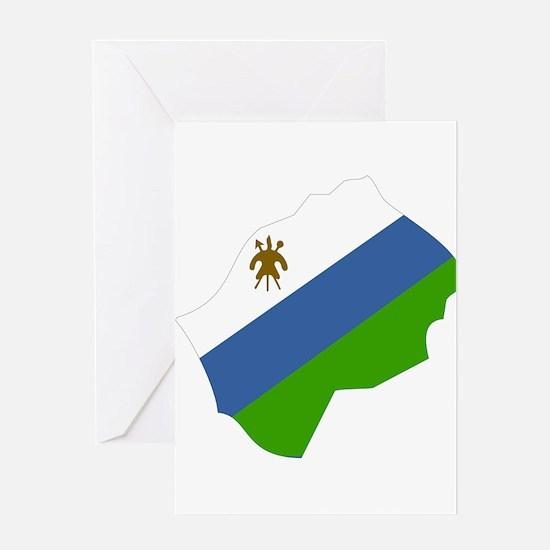 lesotho Flag Map Greeting Card
