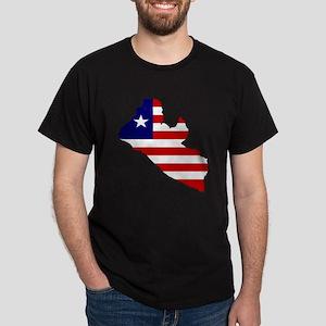 LIBERIA Flag Map Dark T-Shirt