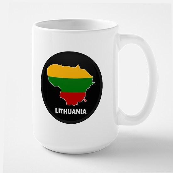 Flag Map of Lithuania Large Mug