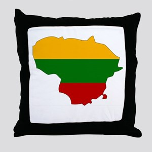 Lithuania Flag Map Throw Pillow