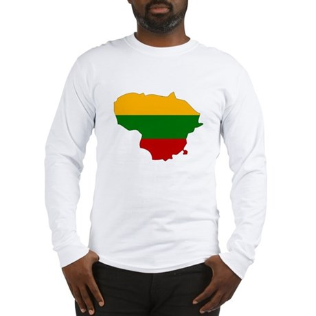 Lithuania Flag Map Long Sleeve T-Shirt