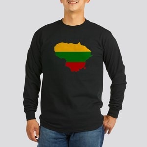 Lithuania Flag Map Long Sleeve Dark T-Shirt