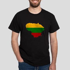 Lithuania Flag Map Dark T-Shirt