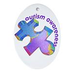 Pastel Autism Puzzle Oval Ornament