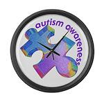 Pastel Autism Puzzle Large Wall Clock