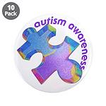 """Pastel Autism Puzzle 3.5"""" Button (10 pack)"""