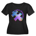 Pastel Autism Puzzle Women's Plus Size Scoop Neck