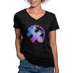 Pastel Autism Puzzle Women's V-Neck Dark T-Shirt