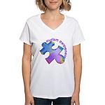 Pastel Autism Puzzle Women's V-Neck T-Shirt