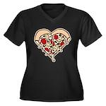 Pizza Heart Women's Plus Size V-Neck Dark T-Shirt