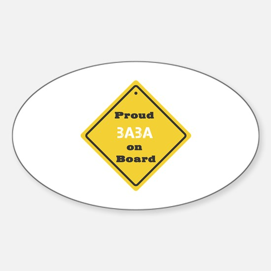 Proud Baba on Board Oval Decal