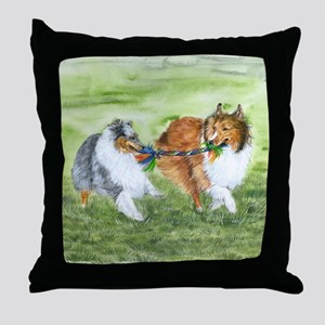 Shetland Sheepdogs At Play Throw Pillow