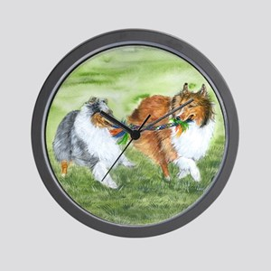 Shetland Sheepdogs At Play Wall Clock
