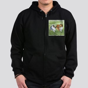 Shetland Sheepdogs At Play Zip Hoodie (dark)