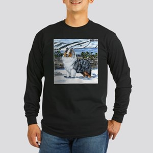 Shetland Sheepdog Blue Merle Long Sleeve Dark T-Sh