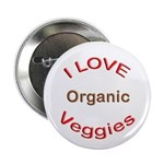 "I Love Organic Veggies 2.25"" Button (10 pack)"