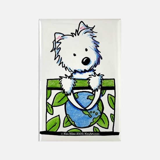09 Earth Day Westie Rectangle Magnet