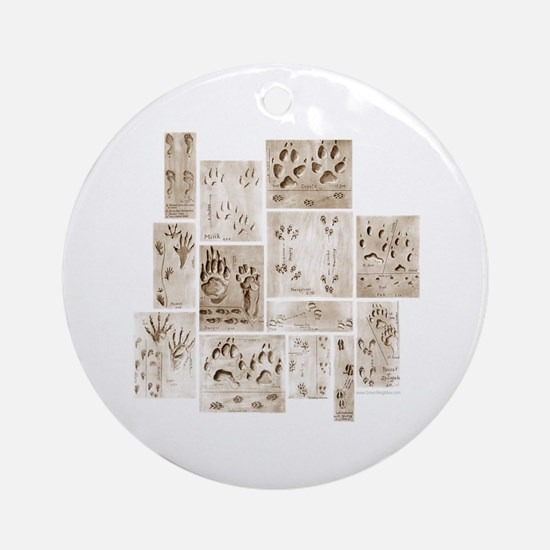 Animal Tracks Collage Ornament (Round)