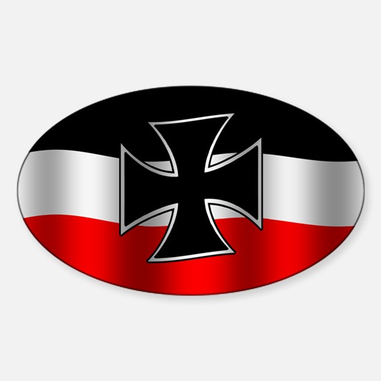 Waving German Naval Jack with Iron Cross car decal