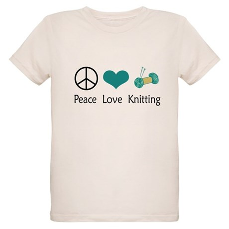 Peace Love Knitting Organic Kids T-Shirt