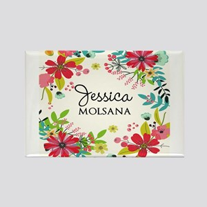 Painted Floral Personalized Monogra Magnets