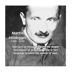 Man / Language: Heidegger Tile Coaster