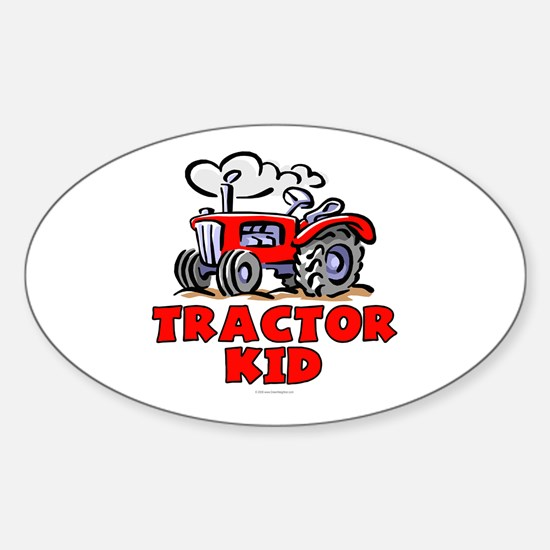 Red Tractor Kid Sticker (Oval)