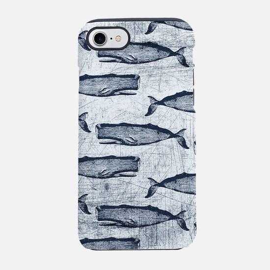 Vintage Whale Pattern Dark Blue iPhone 7 Tough Cas