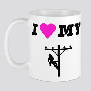 I heart my lineman Mugs