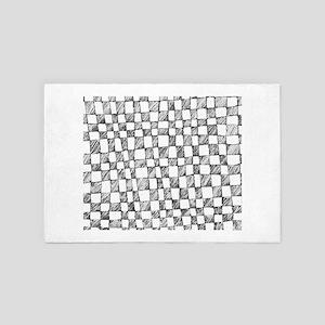 Hand Drawn Checkered Pattern 4' x 6' Rug