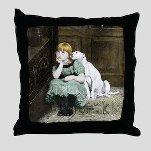 Dog adoring girl Throw Pillow