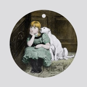 Dog adoring girl Ornament (Round)