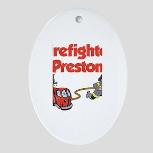 Firefighter Preston Oval Ornament