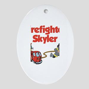 Firefighter Skyler Oval Ornament