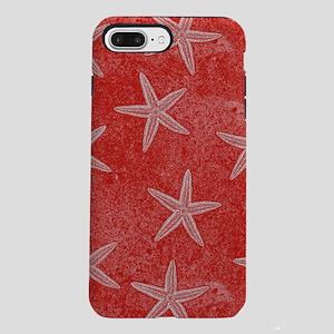 Coral Pink Starfish Pattern iPhone 7 Plus Tough Ca