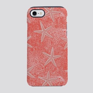 Coral Pink Starfish Pattern iPhone 7 Tough Case