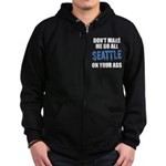 Seattle Football Zip Hoodie (dark)