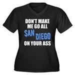 San Diego Football Women's Plus Size V-Neck Dark T