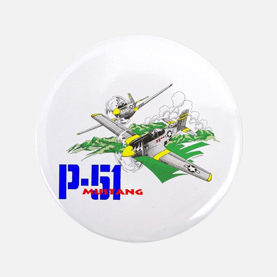 """P-51 MUSTANG 3.5"""" Button"""