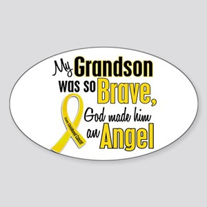 Angel 1 GRANDSON Child Cancer Oval Sticker