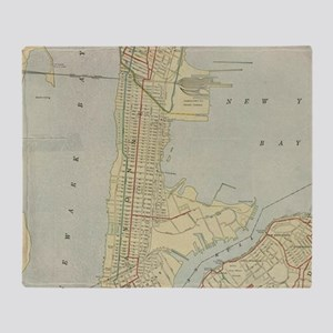 Vintage Map of Bayonne NJ (1912) Throw Blanket