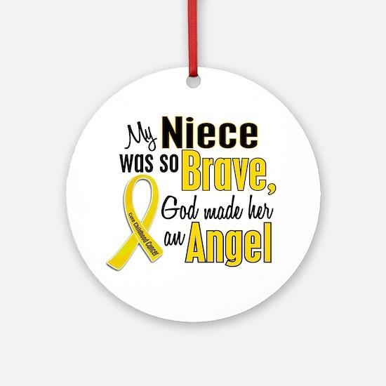 Angel 1 NIECE Child Cancer Ornament (Round)