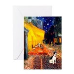Cafe / Rat Terrier Greeting Card