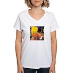 Cafe / Rat Terrier Women's V-Neck T-Shirt