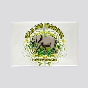 Wild Elephant Rectangle Magnet