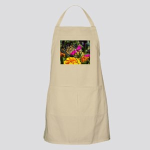 Monarch Butterfly on pink marigold Apron