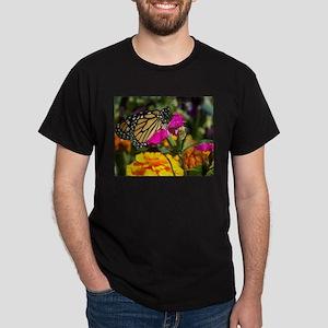 Monarch Butterfly on pink marigold Dark T-Shirt